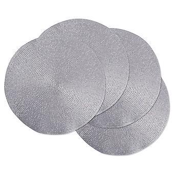 Dii Metal Plata Redonda Polipropileno Tejido Placemat (Conjunto de 4)