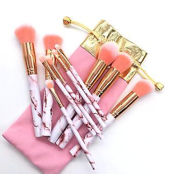 Pink Marmor med en pose 10 stk. make-up børster af fin kvalitet