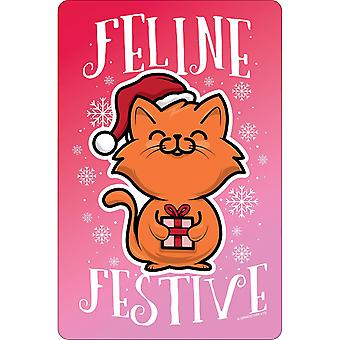 Greet Tin Card Feline Festive Christmas Plaque