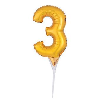"Foil Gold Cake Balloon - 3 -150mm (6"") - single"