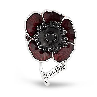 Brooch Pin Red Painted Poppy Full Diamond Corsage British Commemorative 1914-1918 Ladies Brooch