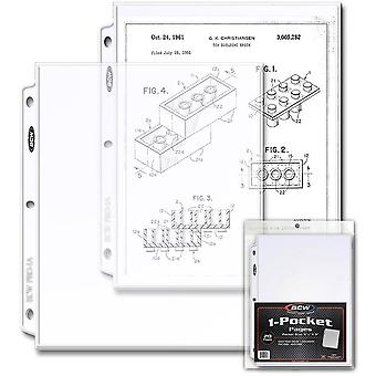 "BCW 1 Pocket Protective Pages (20's/8"" 1/2 x 11"")"