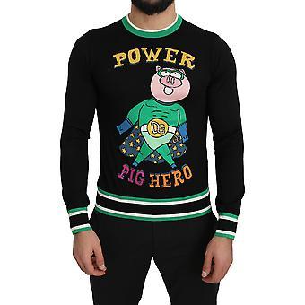 Dolce & Gabbana schwarze Wolle Seide stricken Schwein Pullover - TSH5195