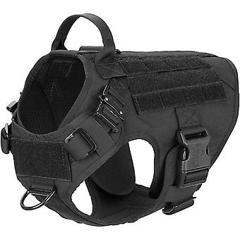 Gerui Tactical Dog Harness,K9 Working Dog Vest,No Pull Front Leash Clip D-ring,Unbreakable Snap-proof (M,