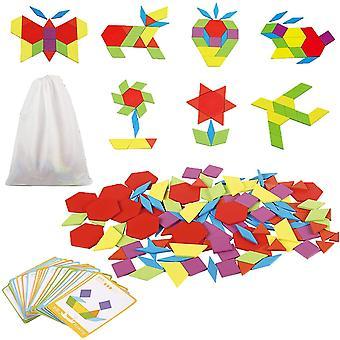 FengChun Holzpuzzles Tangram Geometrische Formen Puzzle Pdagogisches Spielzeug mit 24 Design Karten