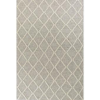 3' x 5' Grey Braided Diamonds Wool Indoor Area Rug
