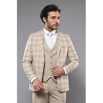Linnen touch checked beige suit | wessi