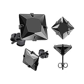 1 pair of stainless steel unisex earrings, with transparent black crystal and stainless steel, color: schwarz-quadratisch 3 Ref. 4058433001466