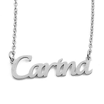 """L Carina - Adjustable Necklace with Custom Name, Silver Tone, 16""""- 19"""
