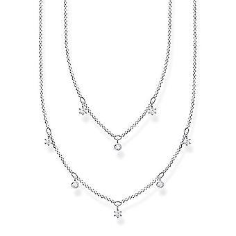 Thomas Sabo, kaksinkertainen kaulakoru naisille Sterling 925 hopea, valkoiset kivet, pituus 40-45 cm(1)
