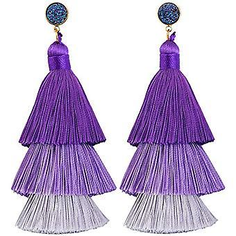 KYEYGWO - Kvinnors örhängen med tofs, boh mien stil, med tråd, med kristaller och droppträd och legering, färg: Ref örhängen. 0715444084324