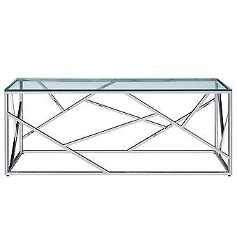 vidaXL Sohvapöytä Läpinäkyvä 120×60×40 cm Karkaistu lasi ruostumaton teräs