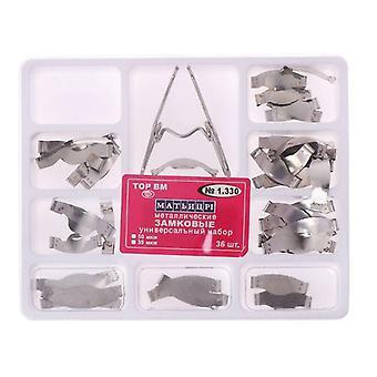 36 Pcs Dental Saddle Contoured Metal Matrices Matrix Universal Kit With Spring Clip|Teeth Whitening