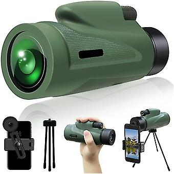 Зеленый монокулярный прицел телескопа низкого освещенного ночного видения с быстрым держателем смартфона 12x50 hd cai1547