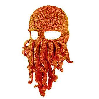 Orange Oktopus Hut lustige maskierte handgemachte gehäkelte Wolle warmen Hut az9437