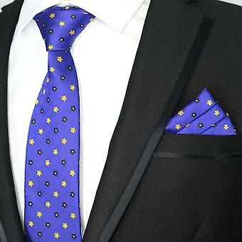 Midnight blue & yellow ditsy pattern floral tie & pocket square