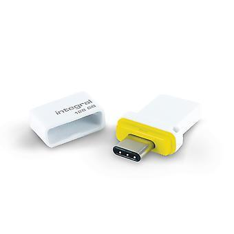 Integral 128GB USB3.0 Memory Flash Drive (Memory Stick) Fusion Dual Type-C Yellow