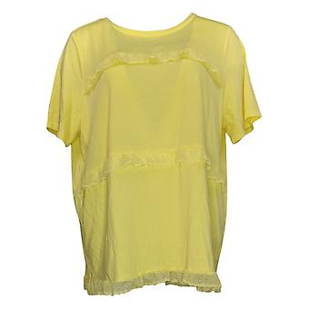 DG2 by Diane Gilman Women's Top Large With Lace Accent Trim Tee Yellow 689463