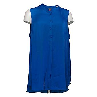 Vince Camuto Dames Plus Top Repel Henley Button Front Tuniek Blauw A365169