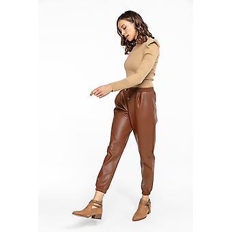Rain naisten laskostettu inkivääri tekonahka housut