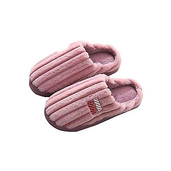 Pink 36-37 thick warm solid comfortable soft plush couple slippers-female homi3754