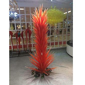 מכירה חמה הובילה יד מנופחת רצפת זכוכית מנורת זכוכית פסל אמנות עומד מנורה