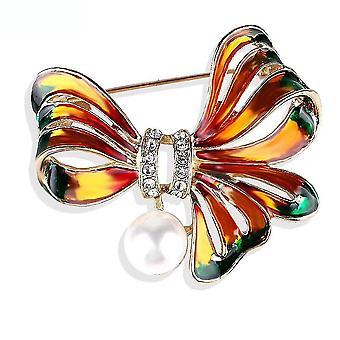 Highend Ladies Brooch Butterfly Corsage Painted Enamel Pearl Brooch Pin