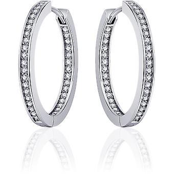 Gisser Jewels - Örhängen - Örhängen med gångjärn - Platt set med Zirconia på utsidan och insidan - 3mm Bred - 30mmØ - Gerhodineerd Zilver 925