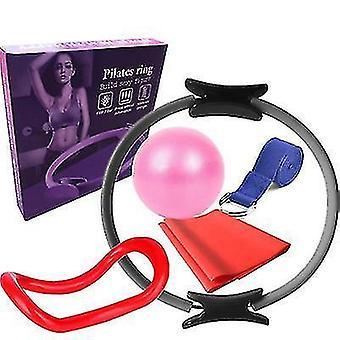 6pcs/set Yoga Fitness Pilates Ring Yoga Ball Rally Band(Grey)