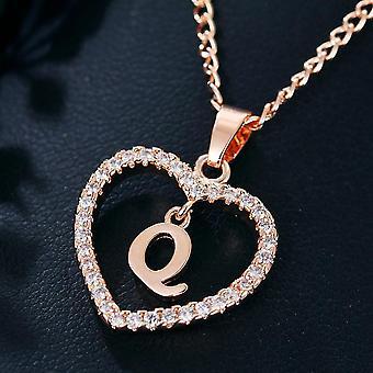 Damen Schmuck Name Initialen Herz Anhänger Halskette 26 Buchstaben Liebe Halsketten Mädchen Geschenke der erste Buchstabe Accessoires