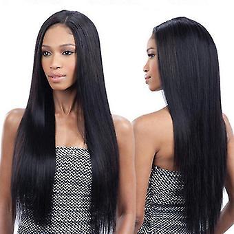 Damen Lange gerade Perücke Hochtemperatur Haarscheide (Schwarz)