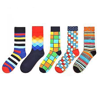 5 Pack Men's Colorful Dress Socks(Yellow)