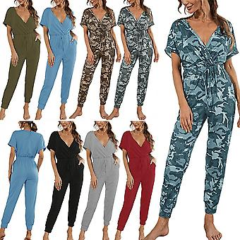 Womens Overall V Neck Jumpsuit Short Sleeve Belted High Waist Pants Casual