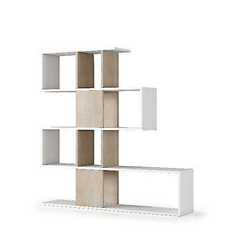 Libreria Terra , Colore Bianco, Legno in Truciolare Melaminico, L145xP29xA145 cm