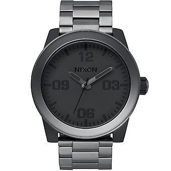 Nixon A346-1062 Mens Corporal Matte Black & Gunmetal Stainless Steel Watch