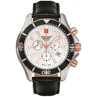 Swiss Alpine Military Black Genuine Leather 7040.9552SAM Reloj de Hombre