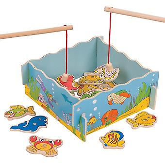 Tile games wooden magnetic fishing game set with rod