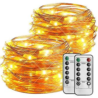 Light ropes strings 2 pack 50 led copper wire string light  fairy lights battery powered with remote  dimmable and ip65
