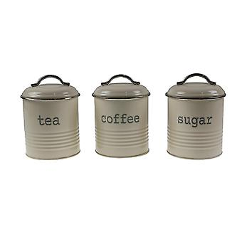 Household storage containers set of 3 round tea coffee sugar canisters kitchen storage jars containers cream