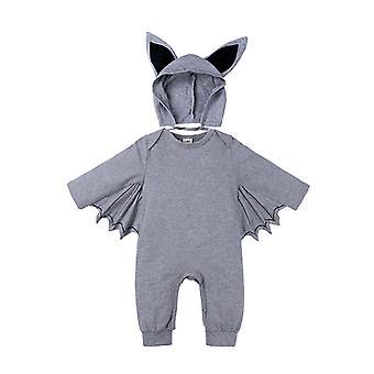 Novorodenci Baby Boys Dievčatá Halloween Bat Romper Kombinéza s kapucňou Oblečenie + čiapka
