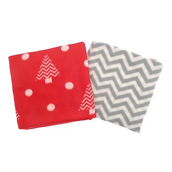 Country Club 2 Christmas Fleece Throws, Red Xmas Tree, Grey Zig Zag
