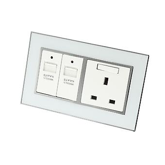 I LumoS AS Luxury White Mirror Glass Double USB + Switched Wall Plug 13A UK Sockets