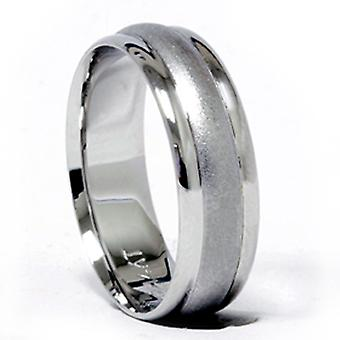 Mens 14K White Gold Satin 6mm Wedding Ring New Band
