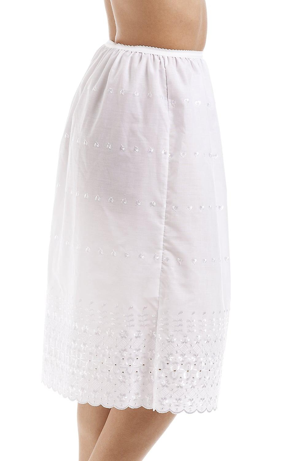 Camille Classic White Embroidered 32'' Half Length Lace Trim Under Skirt Slip