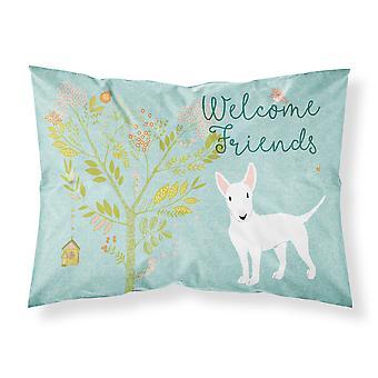 ようこそ友人白ブルテリア ファブリックの標準的な枕