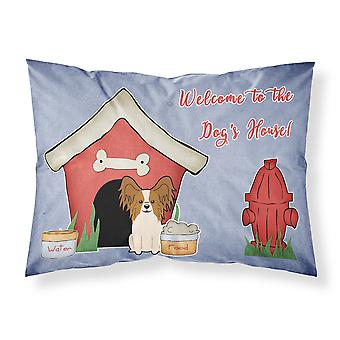Dog House Collection Papillon Red White Fabric Standard Pillowcase