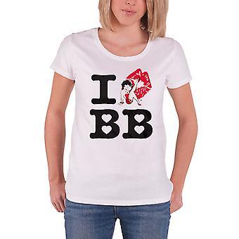 Betty Boop tricou I Love Betty Boop noi oficial femei Skinny fit alb
