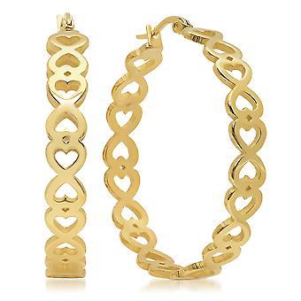Ladies 18K Gold Plated Stainless Steel Infinity Heart Hoops