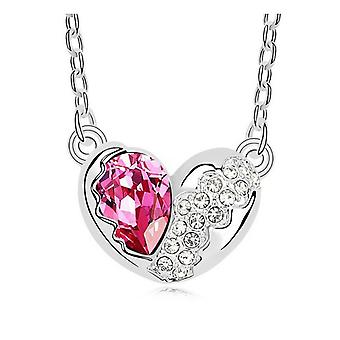 Designer Love Heart Necklaces Pink And�Silver Diamante Crystal Chain Pendant