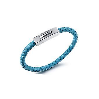 Bracelet Homme en Cuir Tressé Bleu et Acier Inoxydable  5407